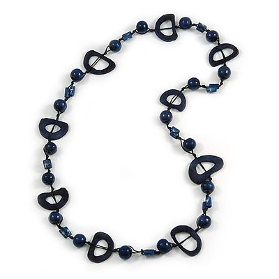 Dark Blue Round and Oval Wooden Bead Cotton Cord Necklace - 80cm Long