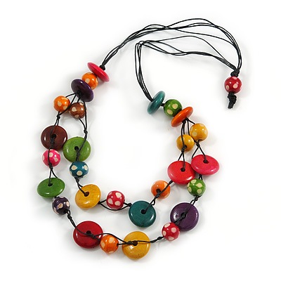 2 Strand Multicoloured Wood Bead Black Cord Necklace - 78cm Long - main view