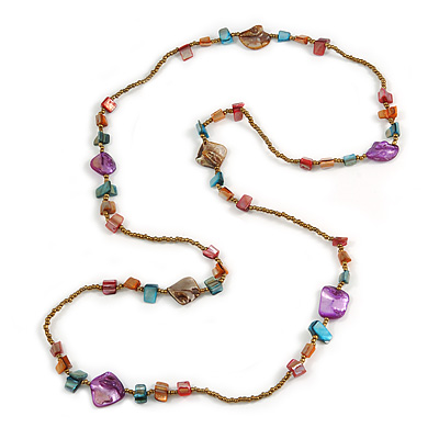 Multicoloured Glass and Shell Beaded Long Necklace - 110cm Long