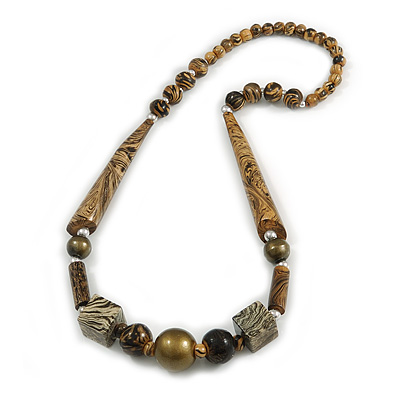 Geometric Wood Bead Necklace (Brown/ Bronze) - 66cm Long