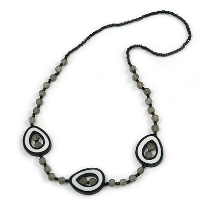 Gray/ White/ Black Resin and Glass Bead Long Necklace - 80cm L