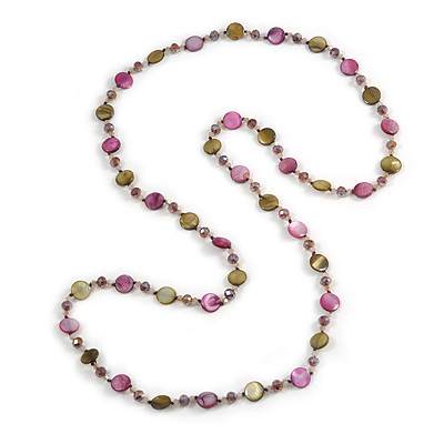 Long Shell, Crystal Bead Necklace in Olive/ Purple - 116cm L