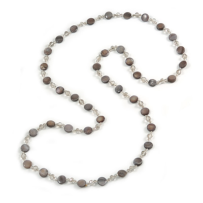 Long Shell, Crystal Bead Necklace in Light Grey - 116cm L