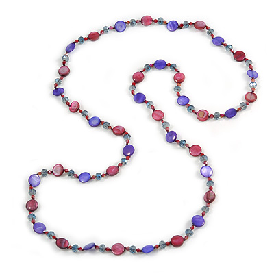Long Shell, Crystal Bead Necklace in Purple Blue/ Burgundy - 116cm L