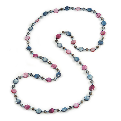 Long Shell, Crystal Bead Necklace in Midnight Blue/ Magenta - 116cm L
