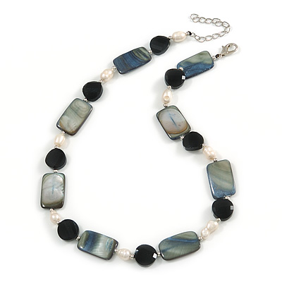 Black Glass Bead, Grey Shell, Cream Freshwater Pearl Necklace with Silver Tone Closure - 44cm L/ 5cm Ext