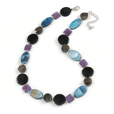 Dark Grey Glass Bead, Blue/ Black/ Purple Shell Necklace with Silver Tone Closure - 50cm L/ 4cm Ext