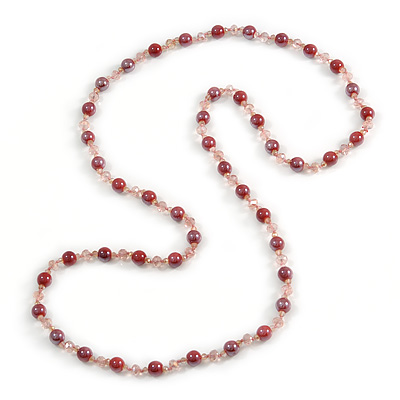 Pink Ceramic and Glass Bead Long Necklace - 112cm Long
