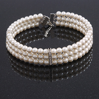 3 Row White Faux Glass Pearl Rigid Choker Necklace with Crystal Bar Detailing In Silver Tone - 36cm L/ 5cm Ext