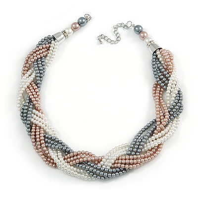 Statement Beige/ Grey/ White Glass Bead Plaited Necklace with Silver Closure - 44cm L/ 6cm Ext