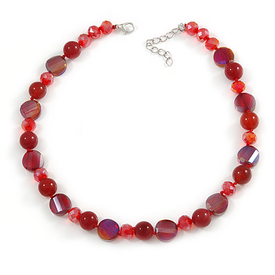 Stunning Glass and Agate Bead Necklace In Red with Silver Tone Closure - 42cm L/ 6cm Ext
