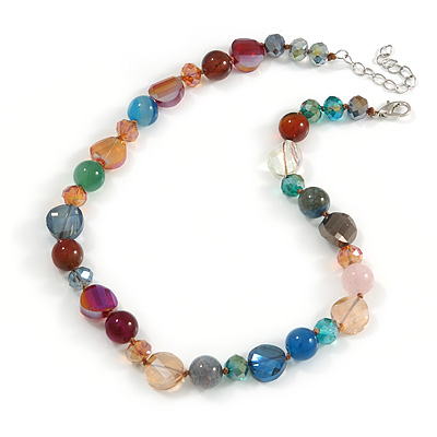 Stunning Glass and Agate Bead Necklace with Silver Tone Closure (Multicoloured) - 42cm L/ 6cm Ext