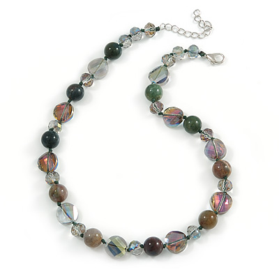 Stunning Glass and Agate Bead Necklace with Silver Tone Closure (Grey, Olive, Green) - 42cm L/ 6cm Ext