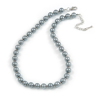 10mm Classic Grey Glass Bead Necklace with Silver Tone Closure - 44cm L/ 6cm Ext - main view