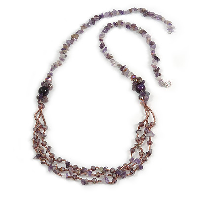 Statement Long Multistrand Purple Glass Beads and Amethyst Semiprecious Nuggets Necklace - 90cm L