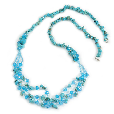 Statement Long Multistrand Light Blue Glass Beads and Turquoise Nuggets Necklace - 90cm L