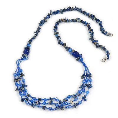 Statement Long Multistrand Glass and Semiprecious Stone Necklace In Blue - 90cm L