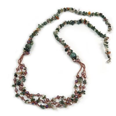 Statement Long Multistrand Purple Glass Beads and Green Malachite Semiprecious Nuggets Necklace - 90cm L