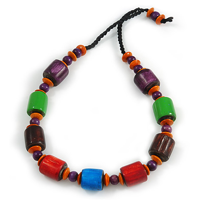 Chunky Multicolured Bone and Wood Bead Black Cord Necklace - 62cm Long - main view