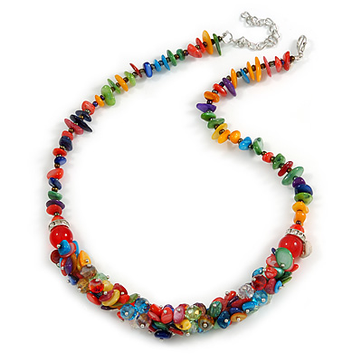 Stylish Cluster Shell and Glass Bead with Crystal Ring Necklace In Silver Tone (Multicoloured) - 45cm L/ 5cm Ext - main view