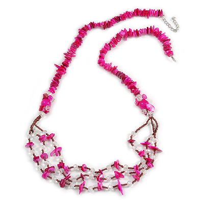 Long Stylish Shell and Glass Bead with Crystal Ring Necklace In Silver Tone (Deep Pink/ Plum/ Clear) - 84cm L/ 5cm Ext
