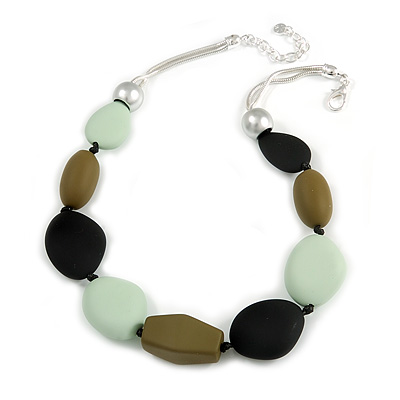 Statement Geometric Resin Bead Necklace In Silver Tone (Mint, Olive, Black) - 49cm L/ 6cm Ext - main view