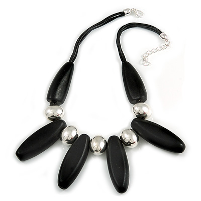 Statement Chunky Black Wood Bead and Silver Ball Cotton Cord Necklace - 51cm L/ 5cm Ext - main view