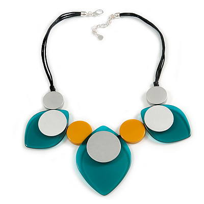 Statement Acrylic Leaf and Circle Motif Black Cotton Cord Necklace (Green, Yellow, Silver) - 50cm L/ 5cm Ext