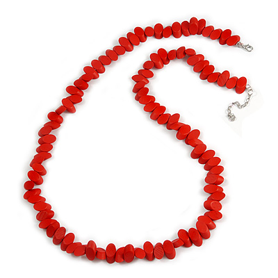 Long Fire Red Wood Bead Necklace - 100cm Long/ 5cm Ext