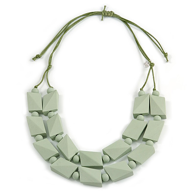 2 Strand Mint Green Wood Bead Cotton Cord Necklace - 60cm Long (Adjustable)
