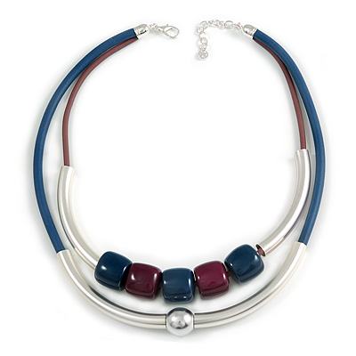 2 Strand Stylish Resin Bead With Metal Bars Rubber Cord Necklace (Blue/ Aubergine) - 50cm L/ 7cm Ext