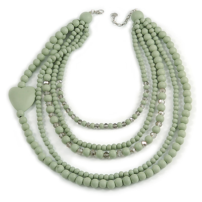 Statement Multistrand Layered Wood and Glass Bead Necklace with Heart Motif (Mint Green/ Light Grey) - 70cm L/ 5cm Ext