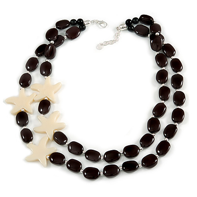 2 Strand Layered Black Acrylic Bead with Starfish Motif - 60cm L/ 5cm Ext