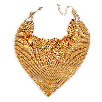 Statement Gold Tone Mesh Bib Necklace - 34cm Long/ 8cm Ext/ 18cm Drop