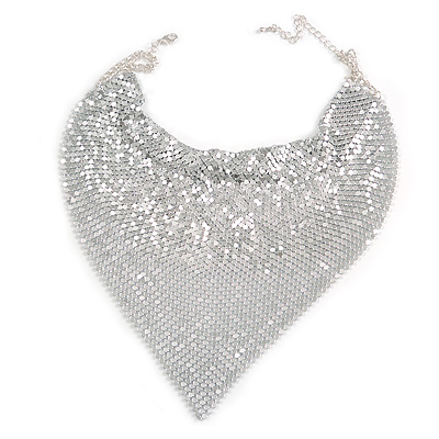Statement Silver Tone Mesh Bib Necklace - 34cm Long/ 8cm Ext/ 18cm Drop