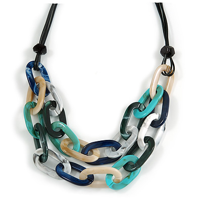 Trendy Multicoloured with Marble Effect Acrylic Large Oval Link Black Cord Necklace - 60cm L/ 5cm Ext