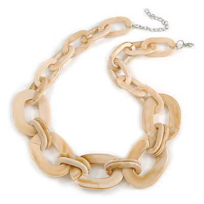 Light Cream With Marble Effect Acrylic Oval Link Necklace - 52cm L/ 7cm Ext