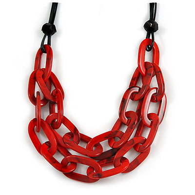 Trendy Red with Marble Effect Acrylic Large Oval Link Black Cord Necklace - 60cm L/ 5cm Ext