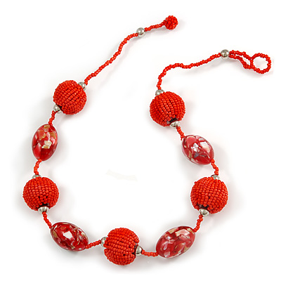Brick Red/ Cherry Red Glass, Resin Bead Chunky Necklace - 50cm Long