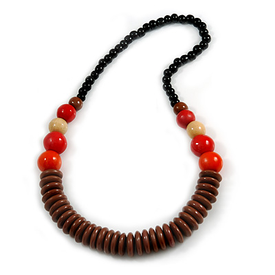 Chunky Ball and Button Wood Bead Necklace in Brown/ Red/ Orange/ Black - 70cm Long - main view