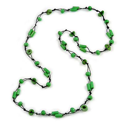 Long Lime Green Wood, Bone Beaded Black Cord Necklace - 106cm L