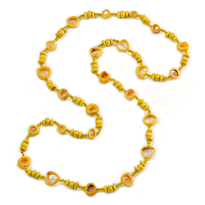 Long Yellow Wood, Glass, Bone Beaded Necklace - 112cm L