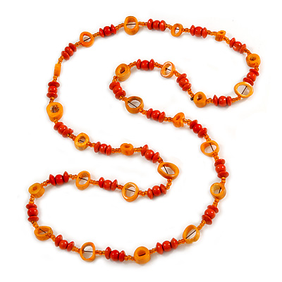 Long Orange Wood, Glass, Bone Beaded Necklace - 110cm L
