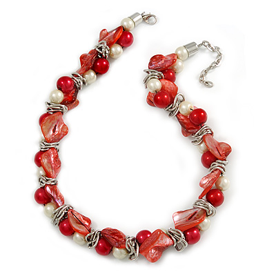 Exquisite Faux Pearl & Shell Composite Silver Tone Link Necklace In Peach Red/ White - 40cm L/ 5cm Ext - main view