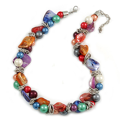 Exquisite Faux Pearl & Shell Composite Silver Tone Link Necklace In Multicoloured - 40cm L/ 5cm Ext
