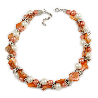 Exquisite Faux Pearl & Shell Composite Silver Tone Link Necklace In Peach Orange/ White - 40cm L/ 5cm Ext - main view
