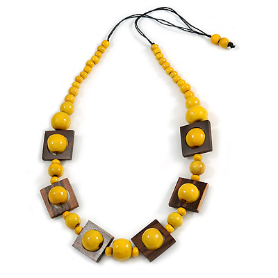 Chunky Square and Round Wood Bead Cotton Cord Necklace (Yellow/ Brown) - 74cm L - main view