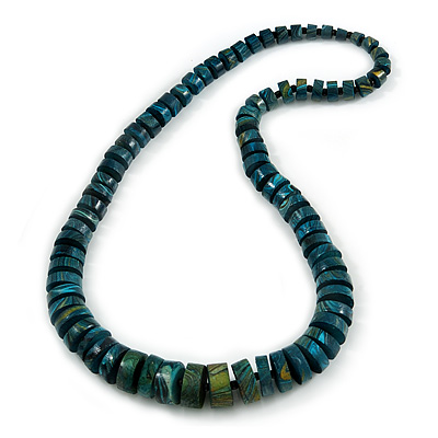Chunky Graduated Teal Wood Button Bead Necklace - 60cm Long