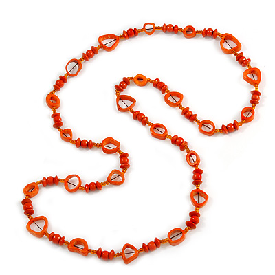 Long Orange Wood, Glass, Bone Beaded Necklace - 110cm L