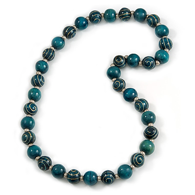 Long Chunky Teal Wood Bead Necklace - 82cm L